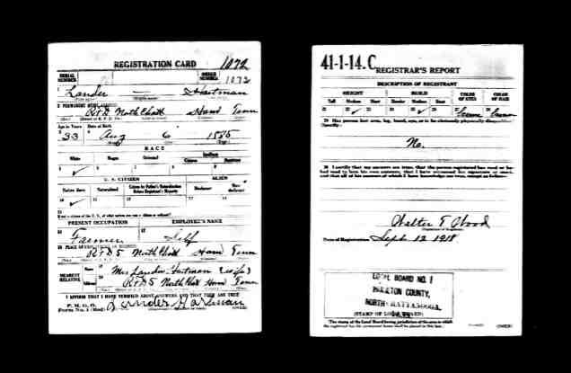 John Lander Hartman WWI Draft Record