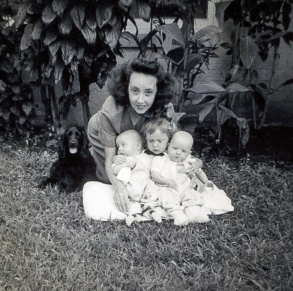 Margaret BRESHANAN w/children Linda HARTMAN (middle) and twins David/Betsy HARTMAN